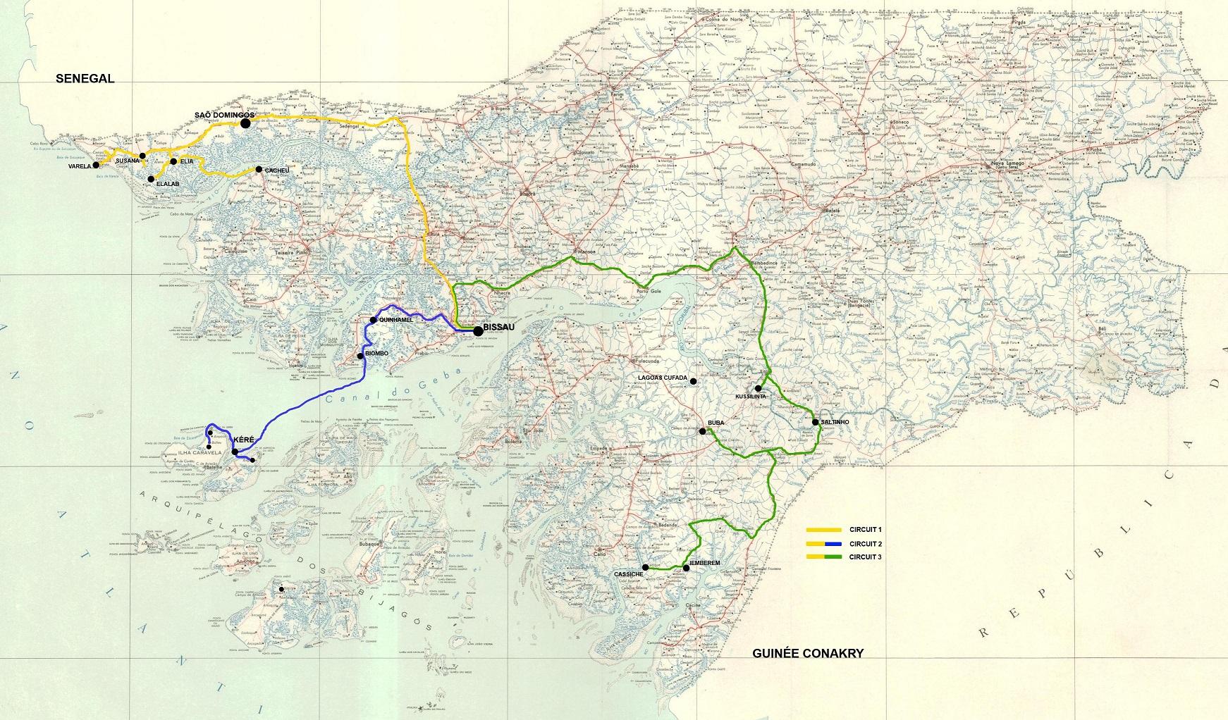 Guinea Bissau Reisen Routen Karte