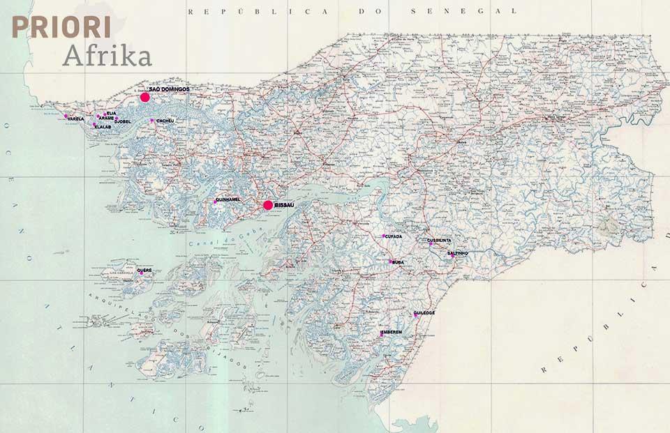 Guinea-Bissau Reisen Land Karte PRIORI Afrika