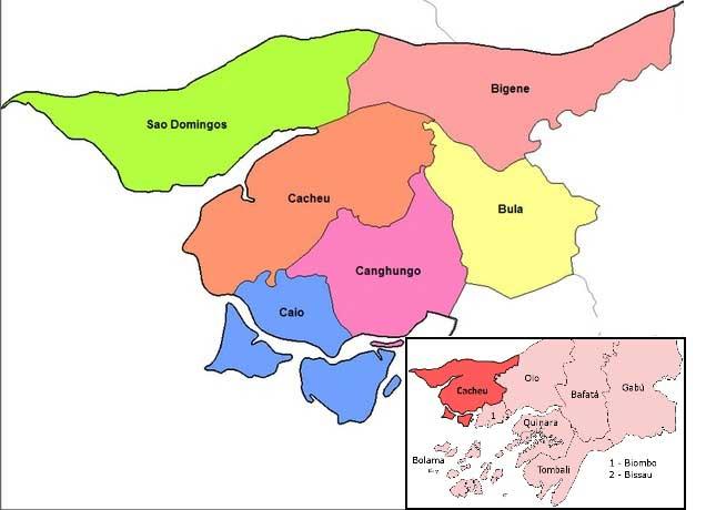 Guinea Bissau Karte Cacheu Region PRIORI Afrika