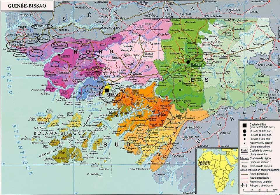 Guinea-Bissau Reisen Karte Regionen PRIORI Afrika