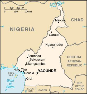 Karte Kamerun Yaoundé Städte