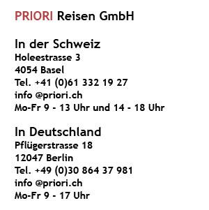 Adresse PRIORI Reisen Afrika Schweiz Deutschland