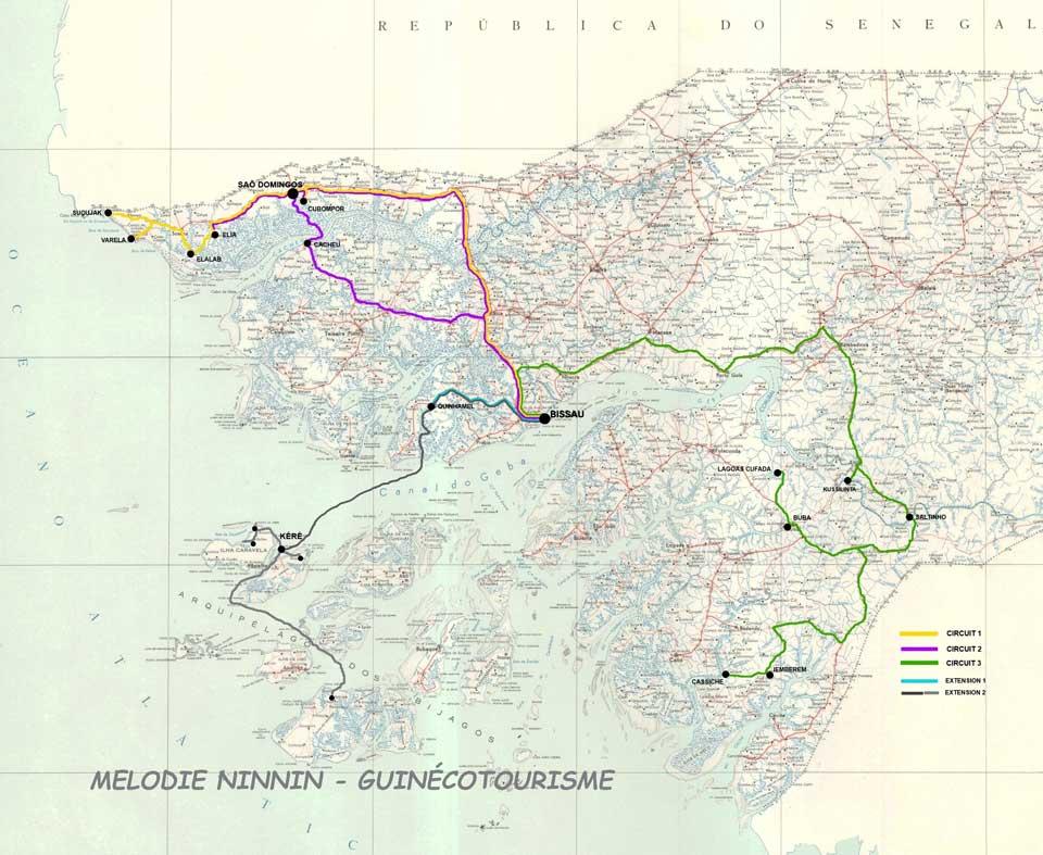 Guinea-Bissau Reiserouten Landkarte PRIORI Afrika Reisen