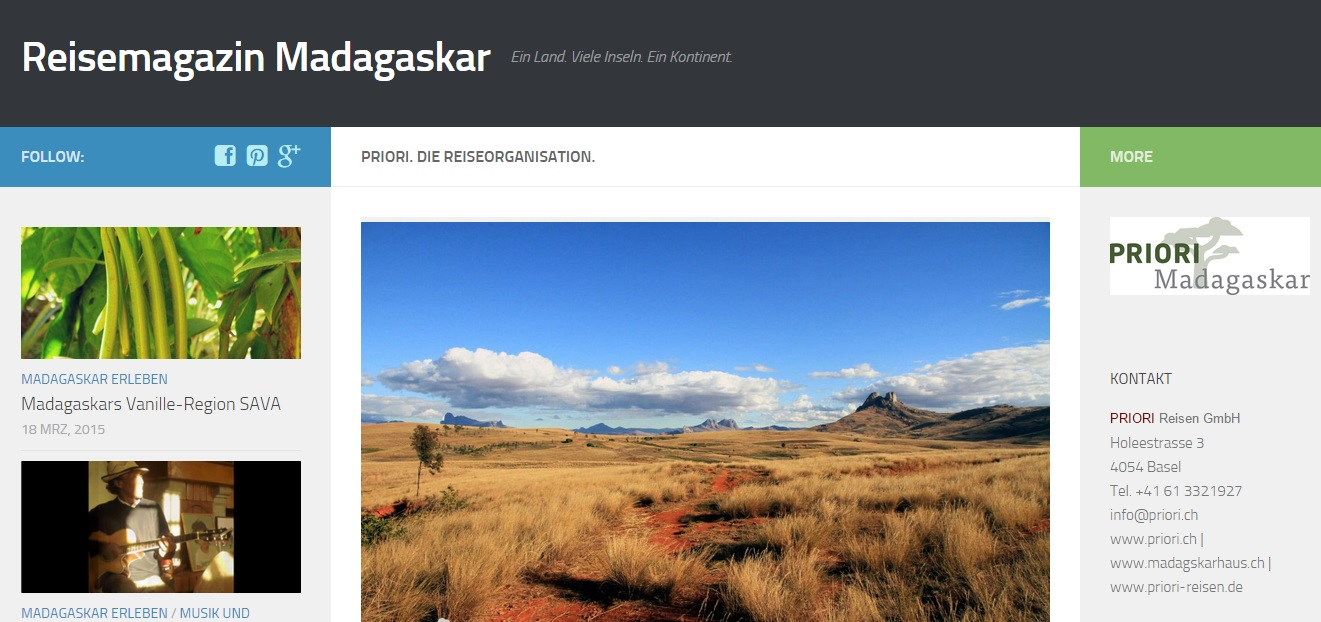 Reisemagazin Madagaskar PRIORI Afrika Reisen