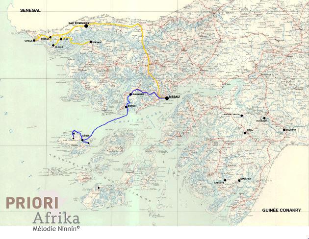 Guinea Bissau Reise Route PRIORI Afrika Bilajos Cacheu Casamance